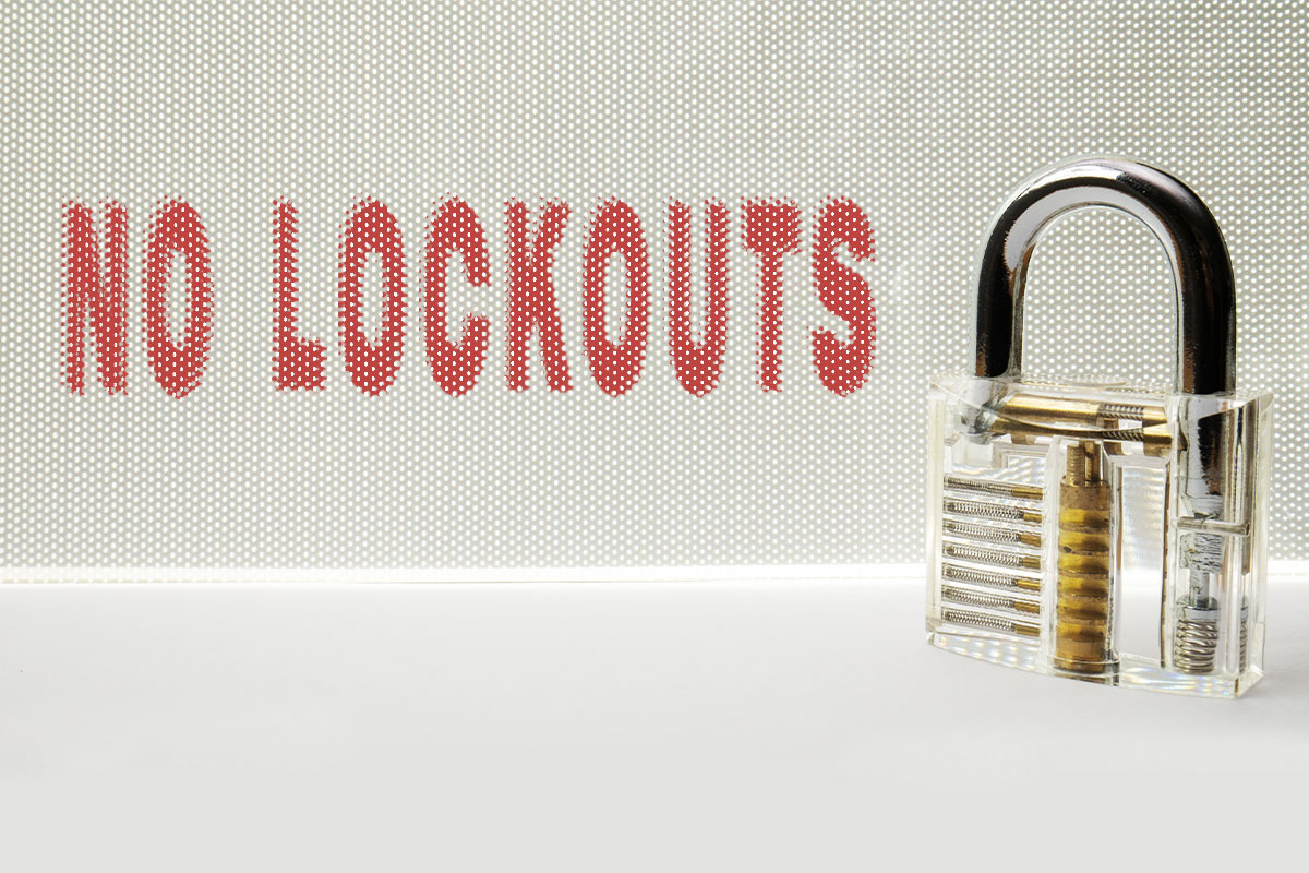 No Lockouts with Spare keys - A Concept - A Padlock and Text